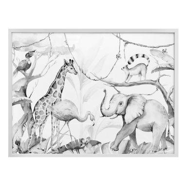 Poster Kvilis - Dierenvrienden in de Jungle zwart-wit