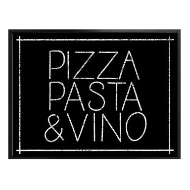 Poster Pizza Pasta & Vino schwarz
