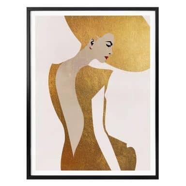 Poster Kubistika - Die Dame im goldenen Kleid