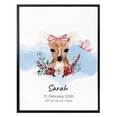 Poster Cerbiatto + Testo personalizzato