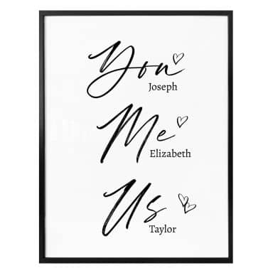 Plakat - You Me Us + personlig tekst