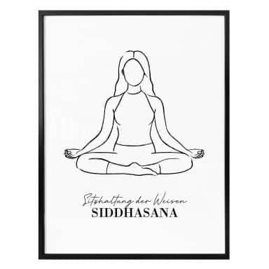 Poster Yoga Siddhasana - Line Art