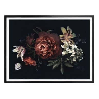 Poster - Blumenbouquet Rot