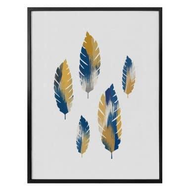 Poster Orara Studio - Leaves Blue and Yellow