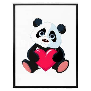 Poster Panda mit Herz