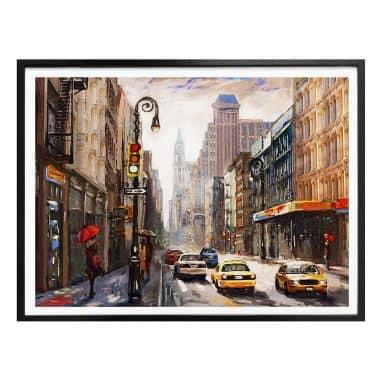 Poster Parapluie rouge à New York Aquarelle