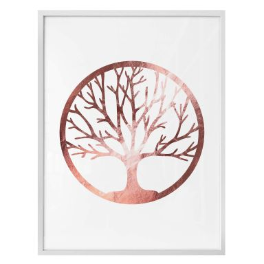 Poster Baum des Lebens - Roségold-Optik