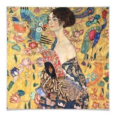 Poster Klimt - Dame mit Fächer - quadratisch