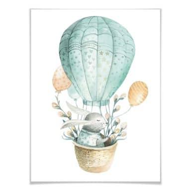 Poster Kvilis - Häschen im Ballon