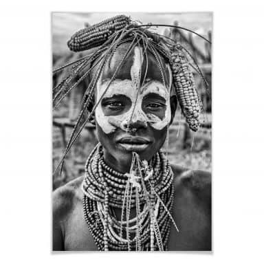 Poster Kuesta - Porträt eines äthiopischen Stammes