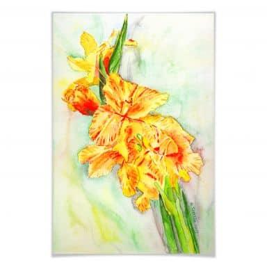 Poster Toetzke - Gladiolen Bouquet in Gelb