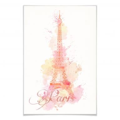 Poster La Tour Eiffel Aquarell