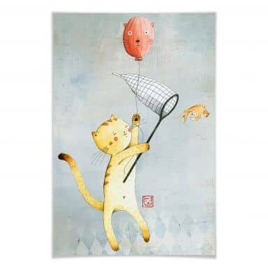 Poster Loske - cat with balloon