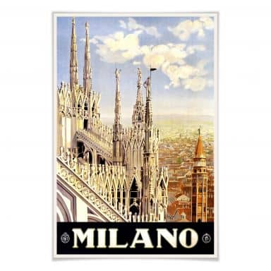Poster Vintage Travel - Milano