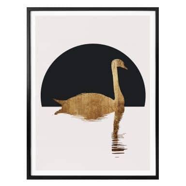 Poster Kubistika - Schwanensee im Halbmond