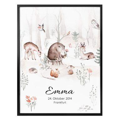 Gepersonaliseerde poster Kvilis - Dierenvrienden in het bos