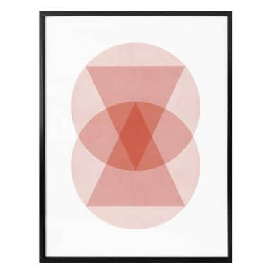 Poster Nouveauprints - Circles and triangles pink