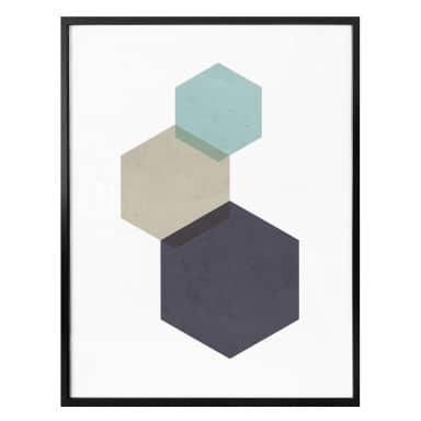 Poster Nouveauprints - Hexagons aqua