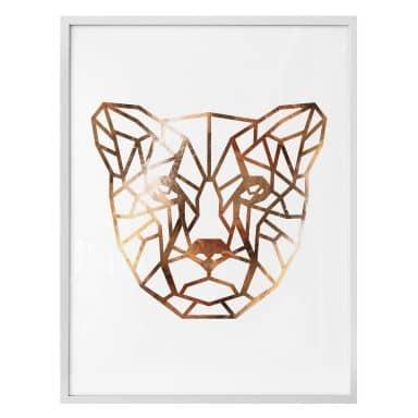 Poster - Origami Gepard - Kupfer-Optik