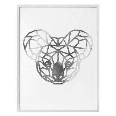 Poster - Origami Koala - Silberoptik