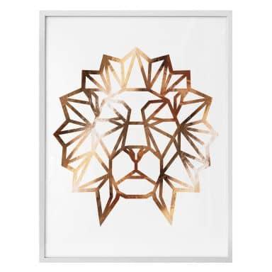 Poster - Origami Löwenkopf - Kupferoptik