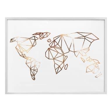 Poster Origami Weltkarte - Kupferoptik