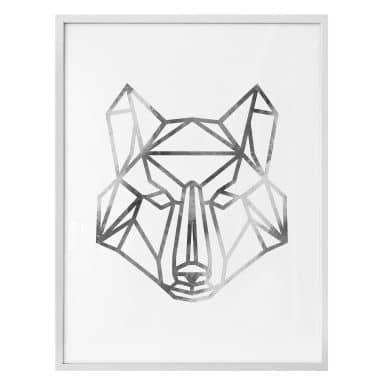 Poster - Origami Wolf - Silber-Optik
