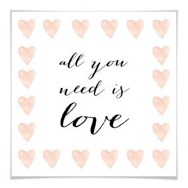 Poster Confetti & Cream - All you need is love