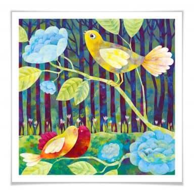 Poster Blanz - Vögel im Wald