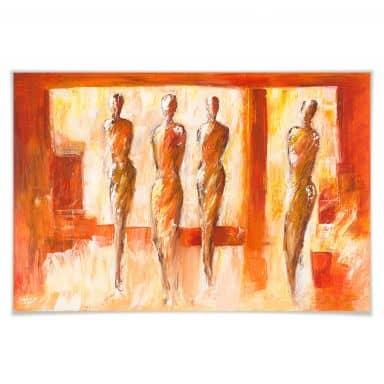 Poster Schüßler - Vier Figuren in Orange