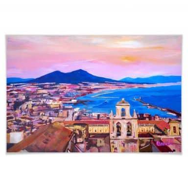 Poster Bleichner - Naples with Mount Vesuvio
