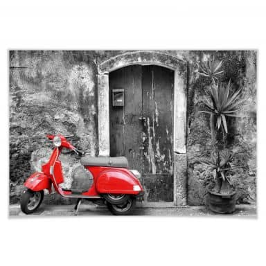 Poster red black and white Scooter