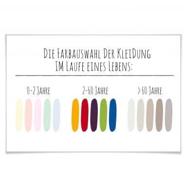 Poster Die Farbauswahl der Kleidung im Laufe eines Lebens