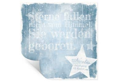 Poster Wunschtext + Name - Sterne fallen nicht vom Himmel (blau)