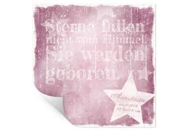 Poster Wunschtext + Name - Sterne fallen nicht vom Himmel (rosa)