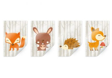 Poster Forest Animals Set (4 pieces)