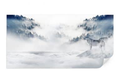 Poster - Wölfe im Schnee - Panorama