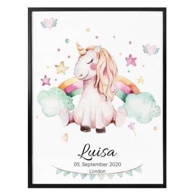 Poster Kvilis unicorno + Testo personalizzato