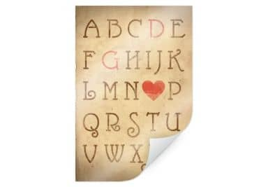 Poster + text love alphabet