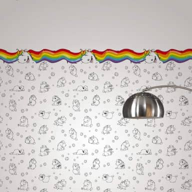 Pummeleinhorn Bordüre Einhorn-Regenbogen bunt