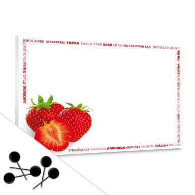 Memoboard Erdbeer Multikulti inkl. 5 Pinnadeln