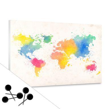 Prikbord Wereldkaart - Aquarel