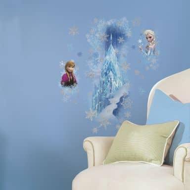 Wandsticker Die Eiskönigin - Anna und Elsa mit Eispalast