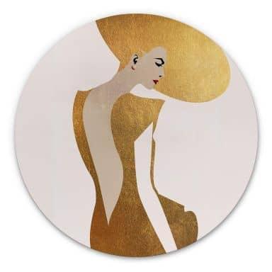 Alu-Dibond Kubistika - Die Dame im goldenen Kleid - Rund