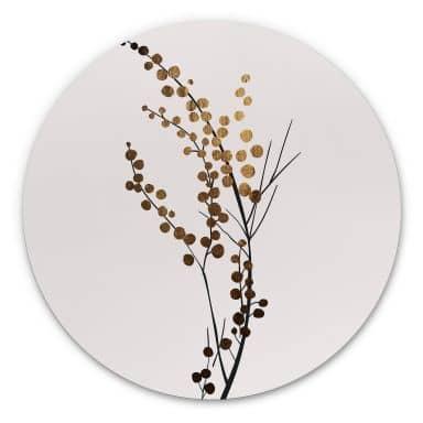 Alu-Dibond Kubistika - Goldener Zweig - Rund