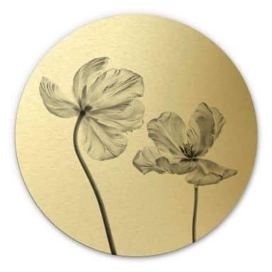 Alu-Dibond mit Goldeffekt Grønkjær - Tulpenblüte - Rund