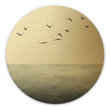 Dibond Schilderij met goud effect Kubistia - Silent Lake