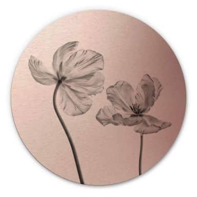 Alu-Dibond mit Kupfereffekt Grønkjær - Tulpenblüte - Rund
