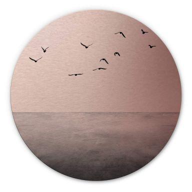 Dibond Schilderij met koper effect Silent Lake