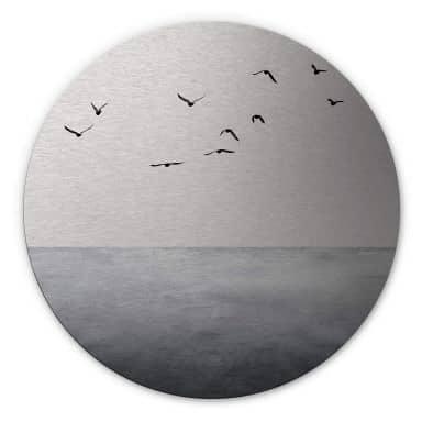 Dibond Schilderij met zilver effect Silent Lake